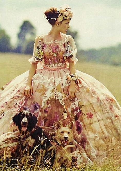 Dolce & Gabbana voluptuous full skirted rose-strewn gown