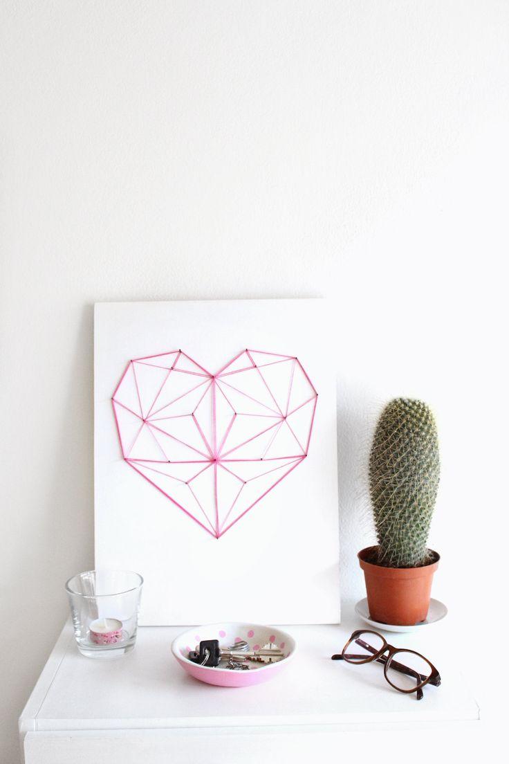 DIY geometric heart string art 13
