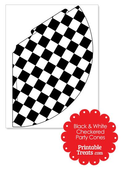 Black and White Checkered Party Cones from PrintableTreats.com