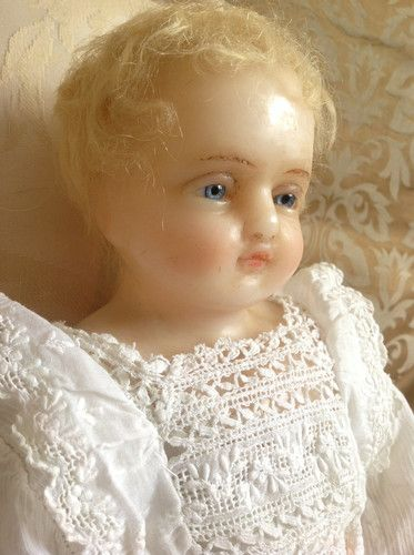 Beautiful Faith A Signed Pierotti English Poured WAX Baby Doll IN Lovely Gown   eBay