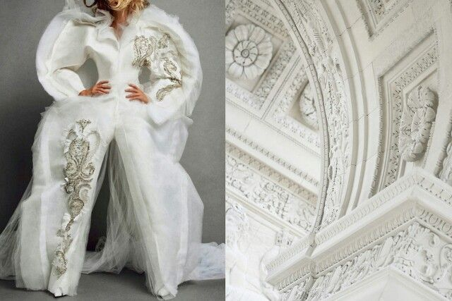 Whit puffy seeing art inspired dress