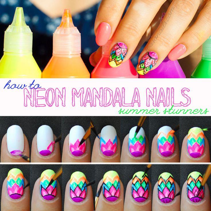 Summer Nails: Neon Mandala Nail Art - Seasonails
