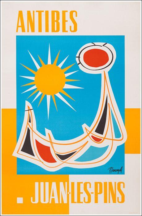 Vintage Travel Poster - Antibes - Juan-Les-Pins - Côte d'Azur - France - 1975.