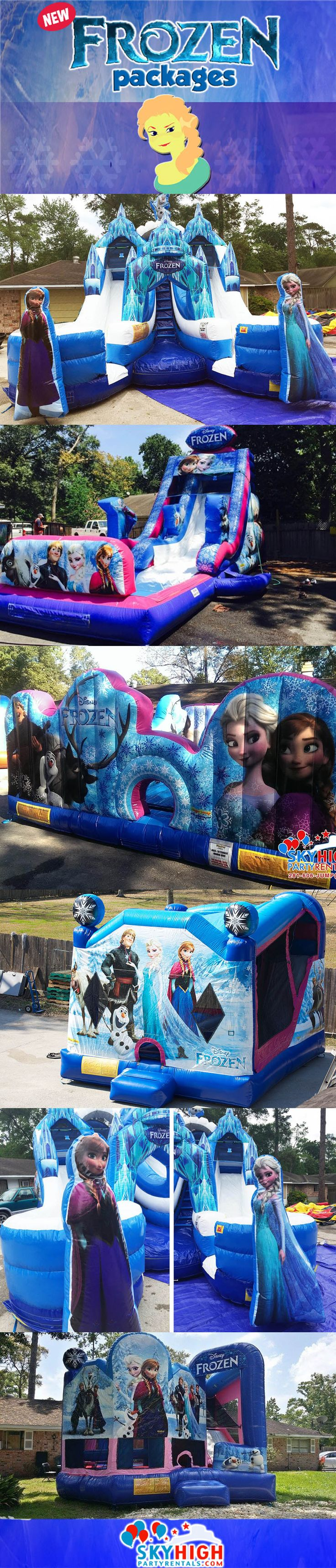 We carry the largest quantity of Frozen inflatable bounce house moonwalks in Houston, TX and surrounding cities. Call us at (281) 606-5867 to make a reservation or book online at the website link: https://www.skyhighpartyrentals.com/houston/frozen-party-ideas