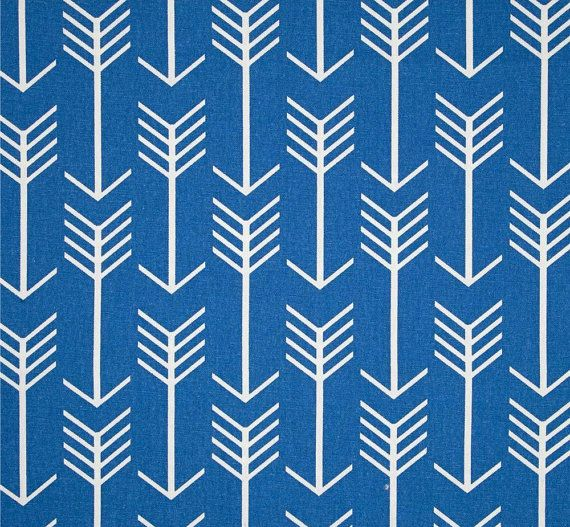 Royal Blue Arrow Fabric By The Yard Designer Cotton Drapery Or Upholstery Fabric Cobalt Blue Tropical