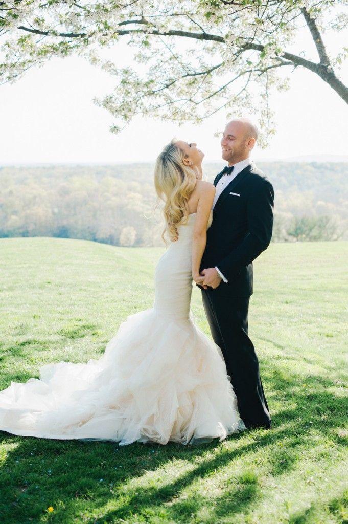 Bride In Ruffle Mermaid Wedding Dress,strapless organza bridal gown,