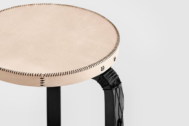 Owen Architecture | Aalto Stool Cover | Leather and Waxed Linen Thread