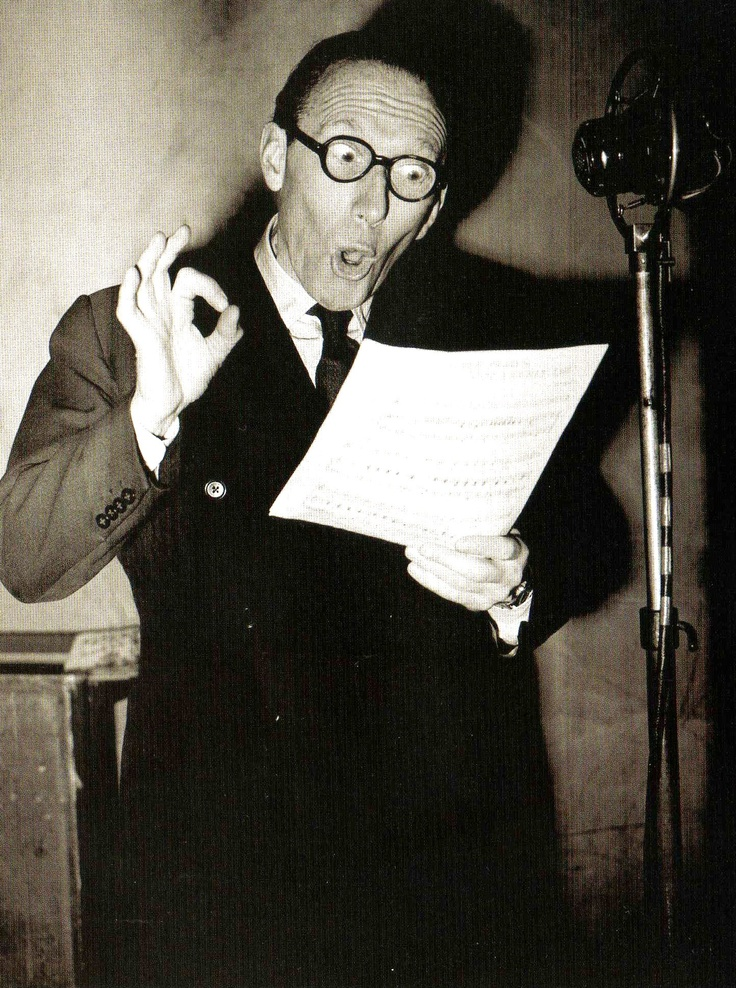 The radio and stage comedian Arthur Askey at the microphone at the EMI studios in Abbey Road - UK - 24 January 1949