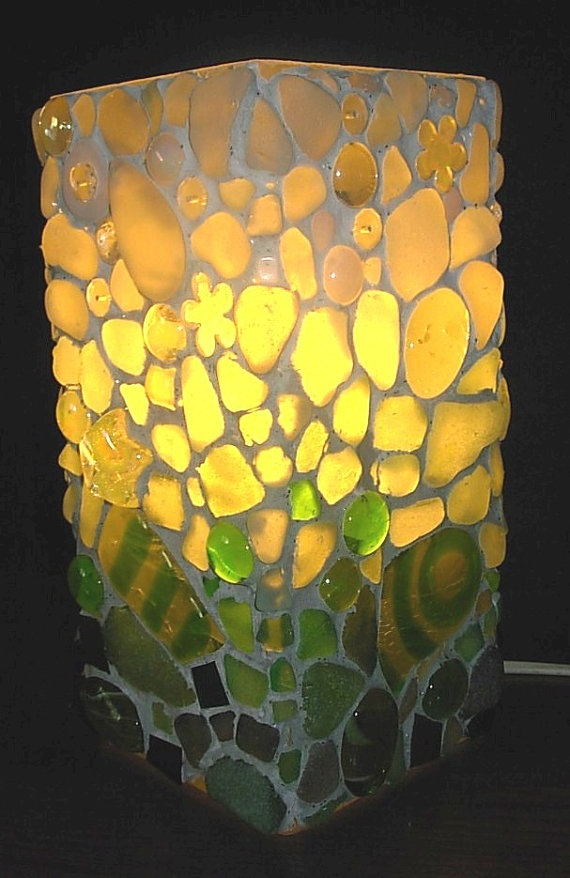 Mosaic art Cornish sea glass Mosaic lamp by Inspirall on Etsy, £50.00