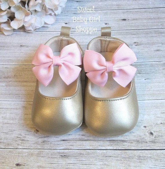 769929ec508e9 Pink and Gold Shoes, Pink and Gold First Birthday Outfit, Gold Baby ...