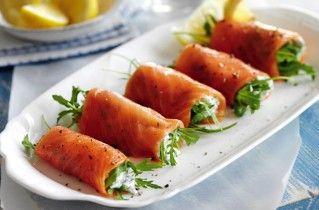 Smoke salmon, cottage cheese and rocket/arugula rolls.