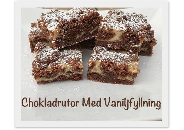 Då det vankas 7-års kalas på lördag passar jag på att baka lite i förväg och även testa lite nya recept. Hittade ett recept på chokladrutor med vaniljfyllning här som jag testade att baka igår. Sååååå himla goda!! Kommer garanterat baka...