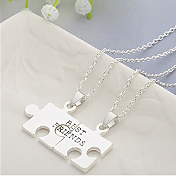 Two Best Friends Silver Puzzle Necklaces Beautiful and new! Jewelry Necklaces