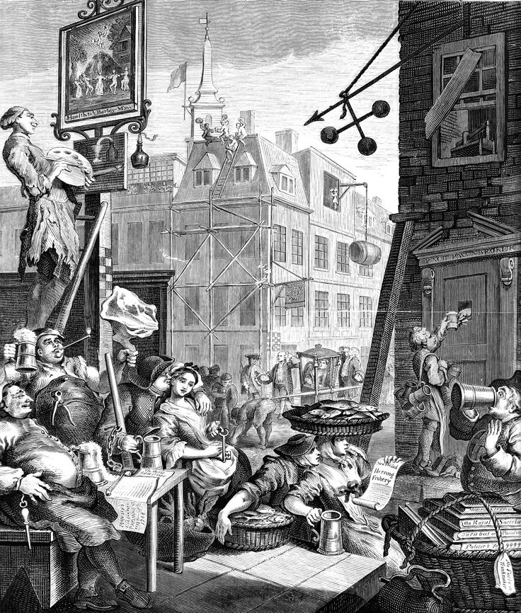 William Hogarth British Artist and Engraver Beer Street.   Engraving, published 1751