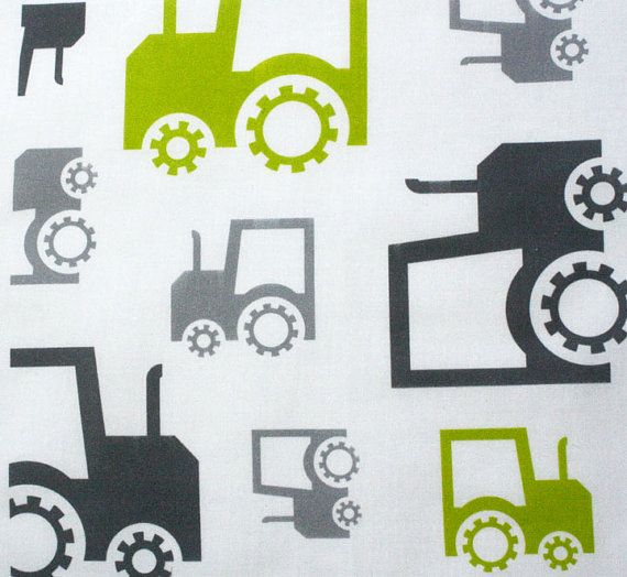 Organic cotton fabric childrens fabric fun tractors for Grey childrens fabric