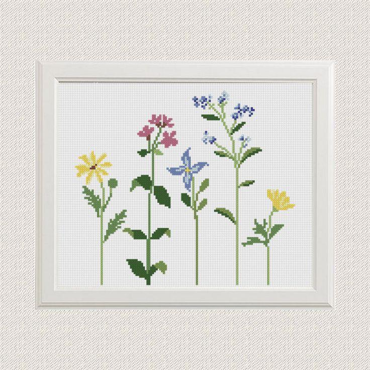 Floral flores silvestres punto de cruz  patrón  moderno