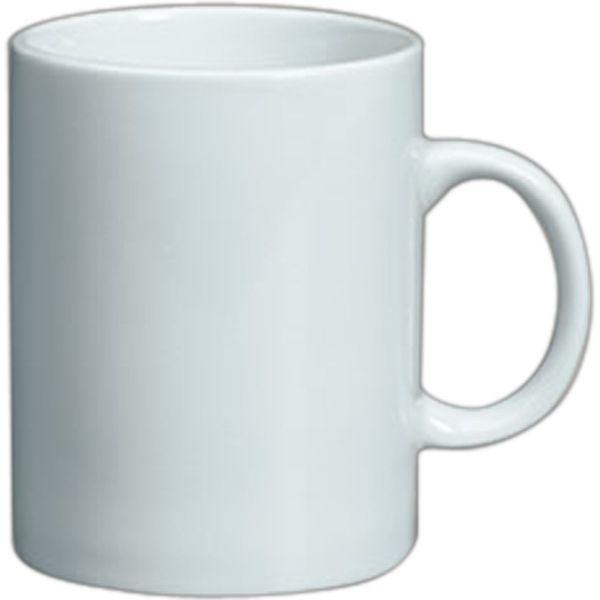 Plain Straight Sided Mug White Vitrified Porcelain 11 Oz 3 4 Tall Dishwasher And Microwave Safe Wit
