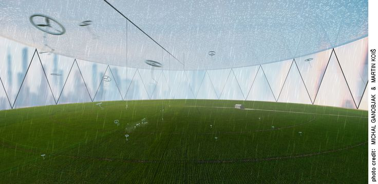 Center pivot field care. Ceiling condensation irrigation creates artificial rain. Harvested daylight is transported inside via optic fibres through ceiling.