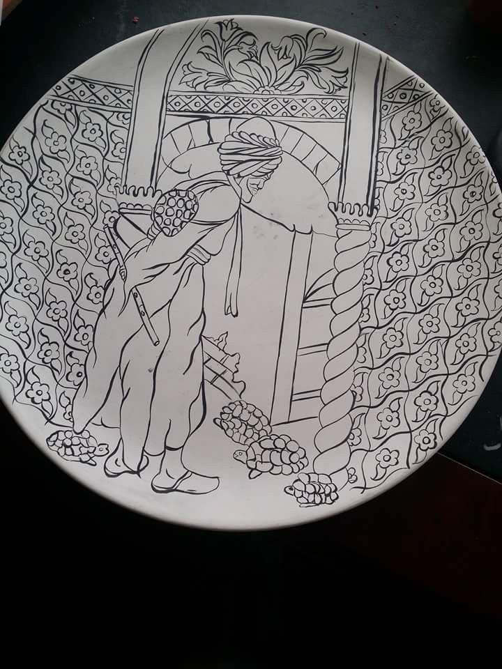 The tortoise trainer - tin-glazed pottery pattern idea