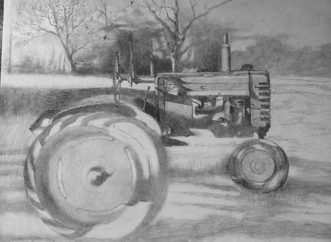 Not exactly a portrait drawing. But tractors have personality, too. Just look at that greasy engine!