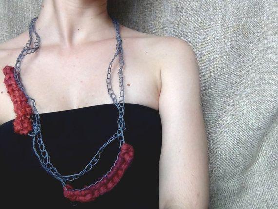 Long necklace crochet necklace yarn jewellery by WearitCrochet