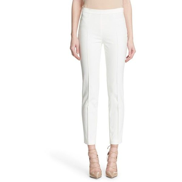 Women's Akris Punto 'Franca' Techno Cotton Blend Ankle Pants ($395) ❤ liked on Polyvore featuring pants, capris, ecru, akris punto, akris punto pants, ankle pants, white short pants and short trousers