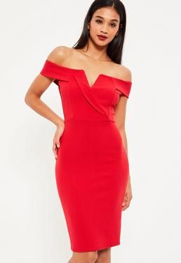 Red Bardot Plunge Midi Dress