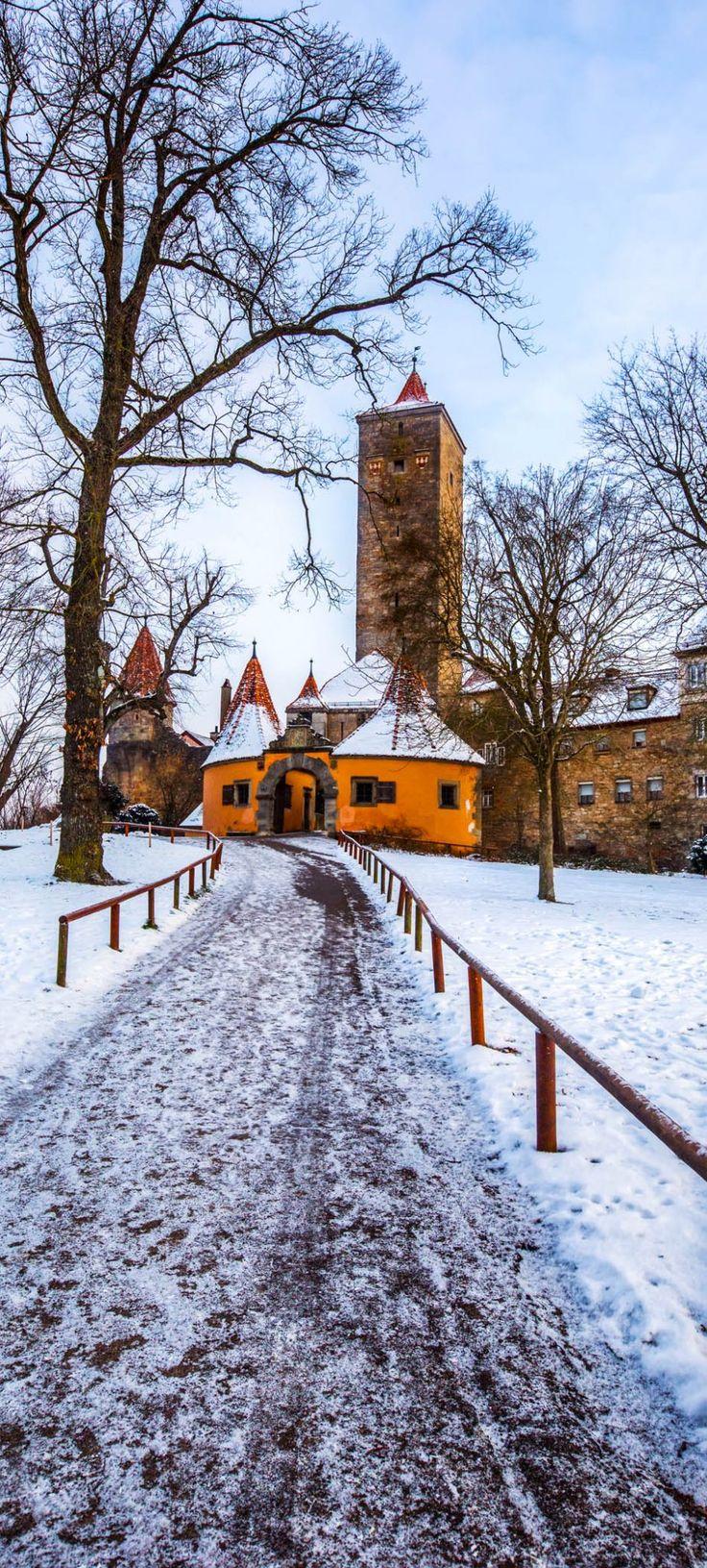 Castle Gate, Rothenburg ob der Tauber, Bavaria, Germany | The 20 Most Stunning Fairytale Castles in Winter