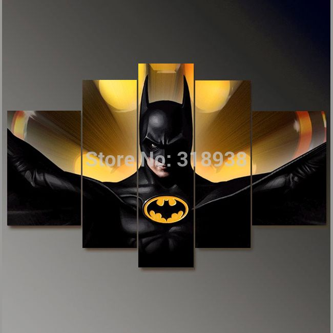 Framed Hand Painted 5 panels Batman movie group oil painting canvas art home decor wall art Free shipping/sa 825-in Painting & Calligraphy from Home & Garden on Aliexpress.com | Alibaba Group