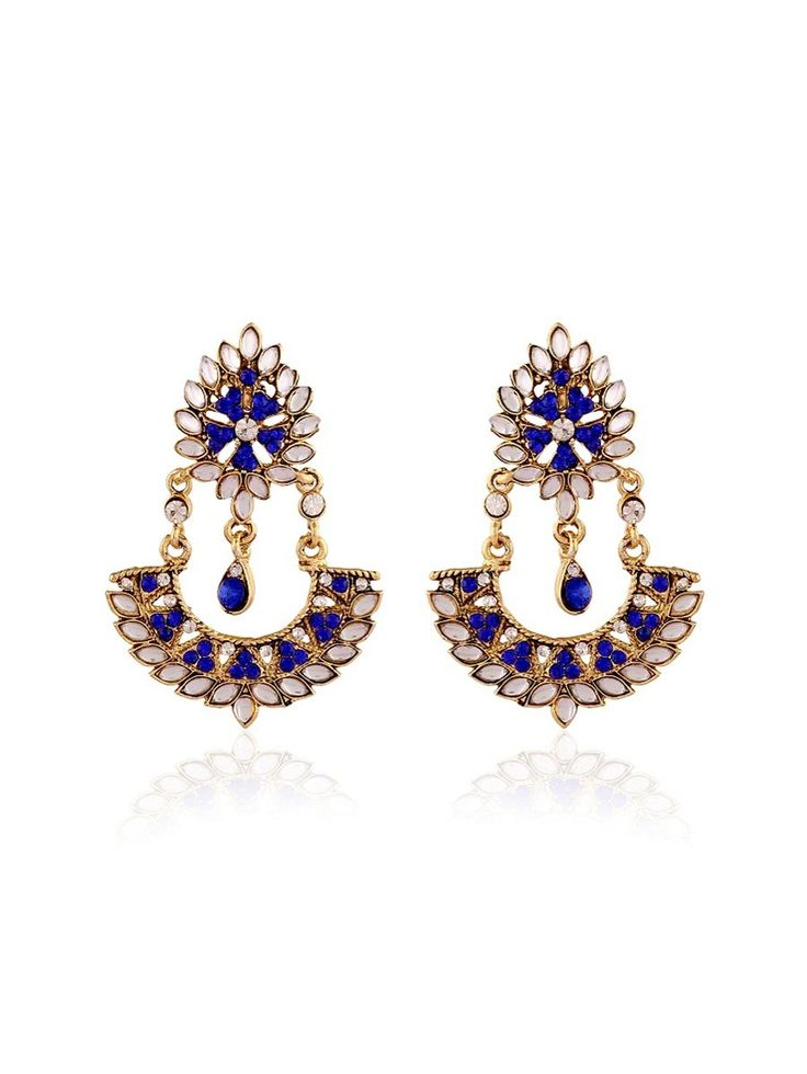 Evoking #Gold plated brass metal #Earrings with #Kundan, #Diamantes work. Item Code: JRUM542 http://www.bharatplaza.com/jewellery/earrings.html