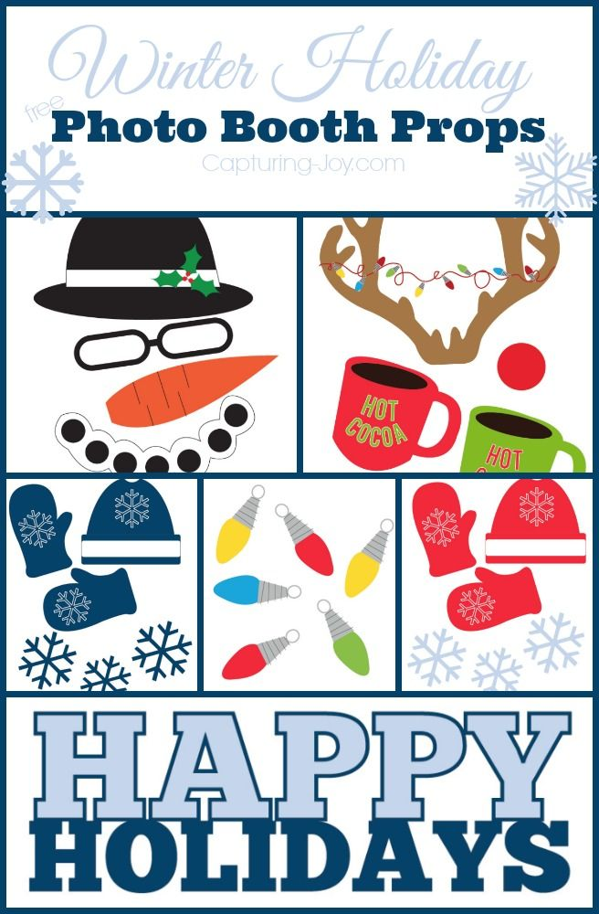 Winter Holiday Free Photo Booth Props including a snowman, mittens and Christmas lights!