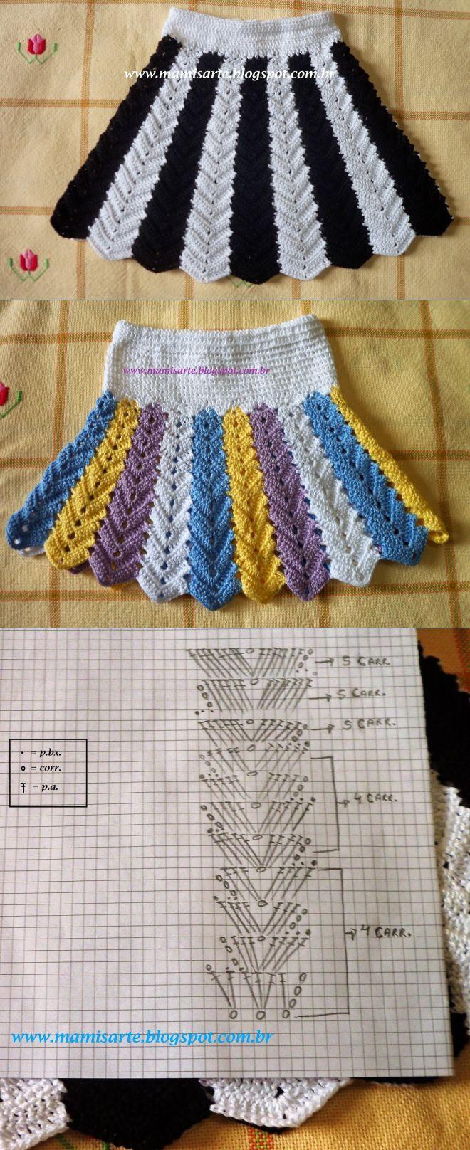 Crochet y otros géneros de punto Mamis: falda de ganchillo de los niños con rayas verticales - Gráfico