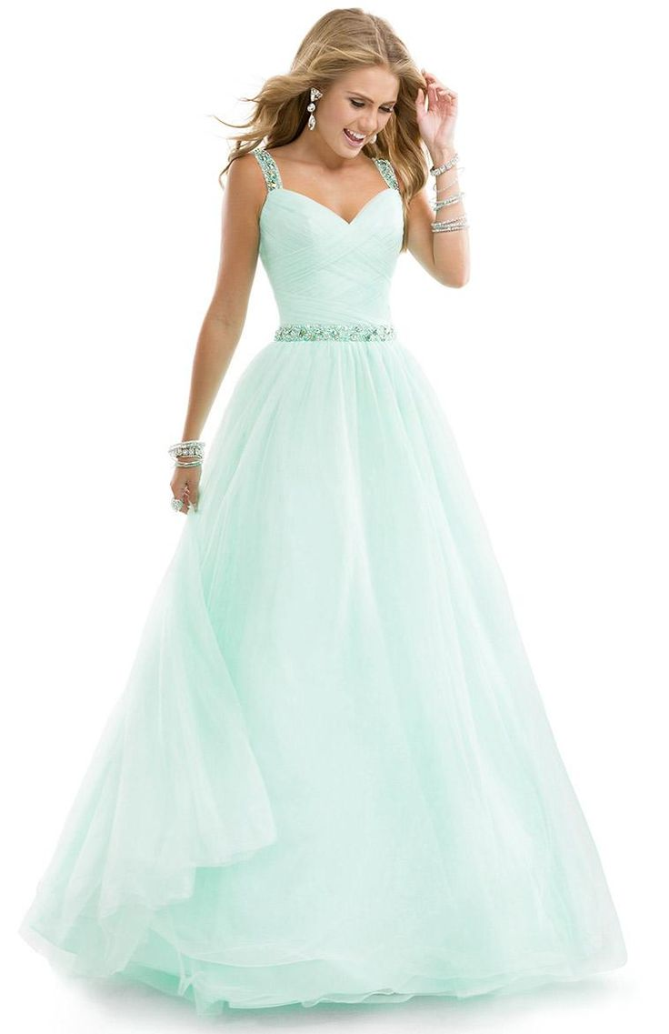 Sweet mint ballgown prom dress with criss-cross straps and open back | Flirt Prom