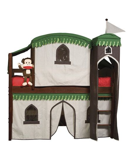 Cherry Playhouse Low-Loft Four-Piece Tent Bed Set