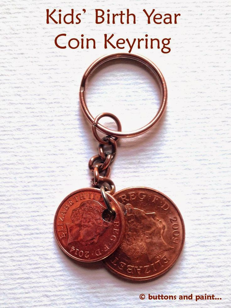 How to make a keyring (perhaps for for Father's Day) - using coins with the year of the kids' birth...