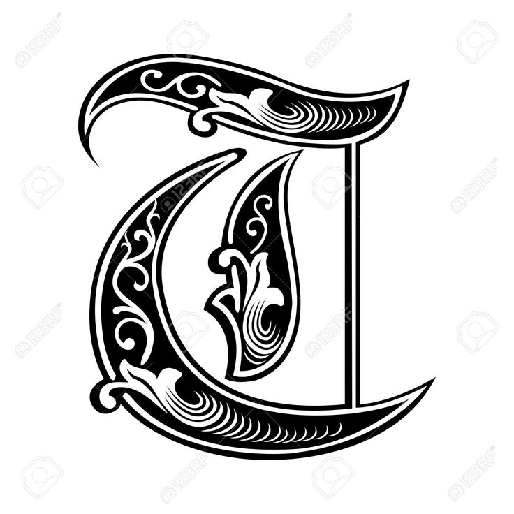 Garnished Gothic Style Font Letter W Stock Vector