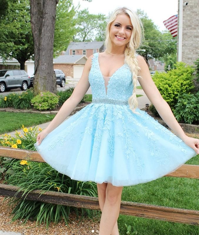 32e51e31847f Light Blue V-neck Applique Homecoming Dress,short Lace Party Dress ...