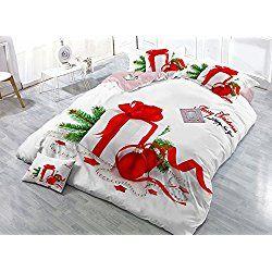 Beddinginn Christmas Gift Print Satin Drill 4-piece White Christmas Duvet Cover Set (Queen)