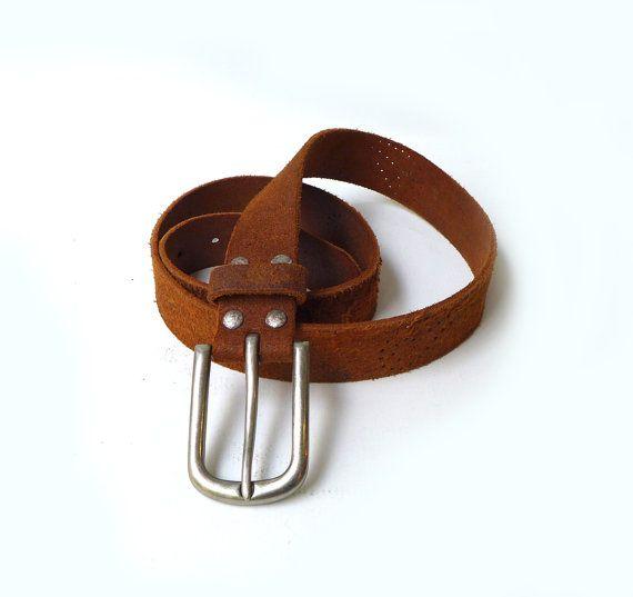Vintage Diesel boho punched rustic tan leather belt by evaelena