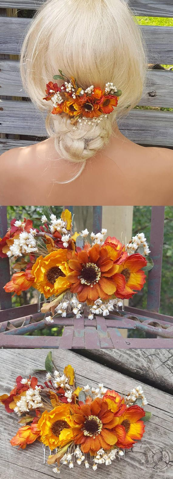 Fall Wedding Comb, Autumn Bridal Hair Comb, Thanksgiving Comb, Fall Bridal Comb, Outdoor Wedding, Rustic Fall Decor, Orange Yellow Flowers