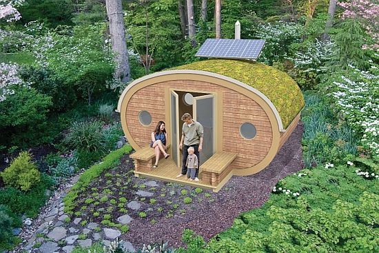 "The Garden Ark by Zed Factory is a multiple-use solar-powered unit that has been designed to sit ""in"" rather than ""on"" the landscape. The space can be used in a variety of fashions from a peaceful place to read a book or a place to share the evening with someone.Gardens Ideas, Garden Ideas, Grid Living, Tiny House, Woman Caves, Little Gardens, Home Design, Gardens Buildings, Tiny Home"