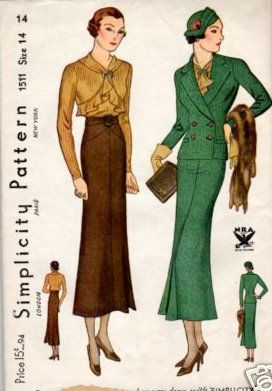 1930s Simplicity Fall Suit Dress Patterns