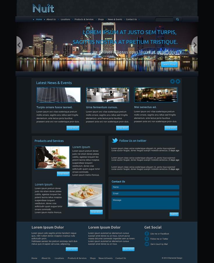 Dark web design in black dark grey and blue.