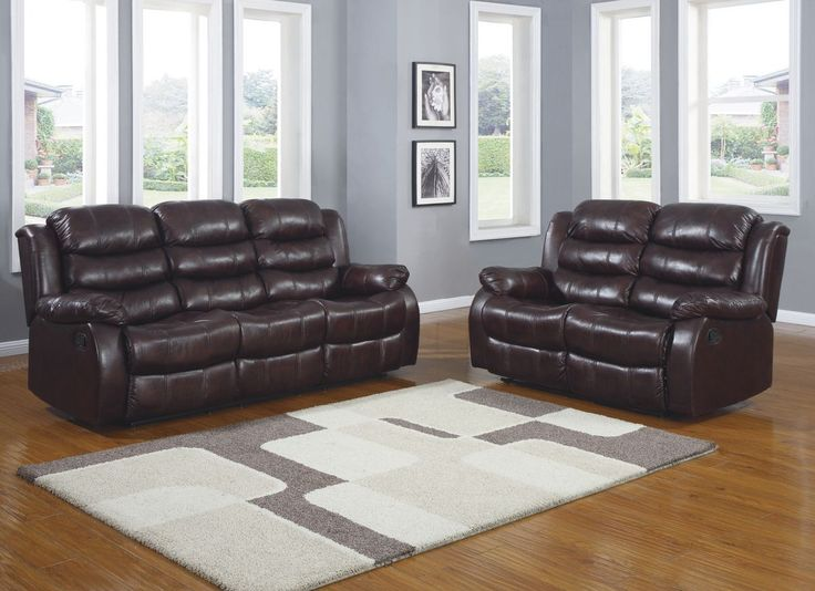 Sofa Mart  pc Smithee collection Burgundy polished microfiber upholstered double reclining sofa and love seat set