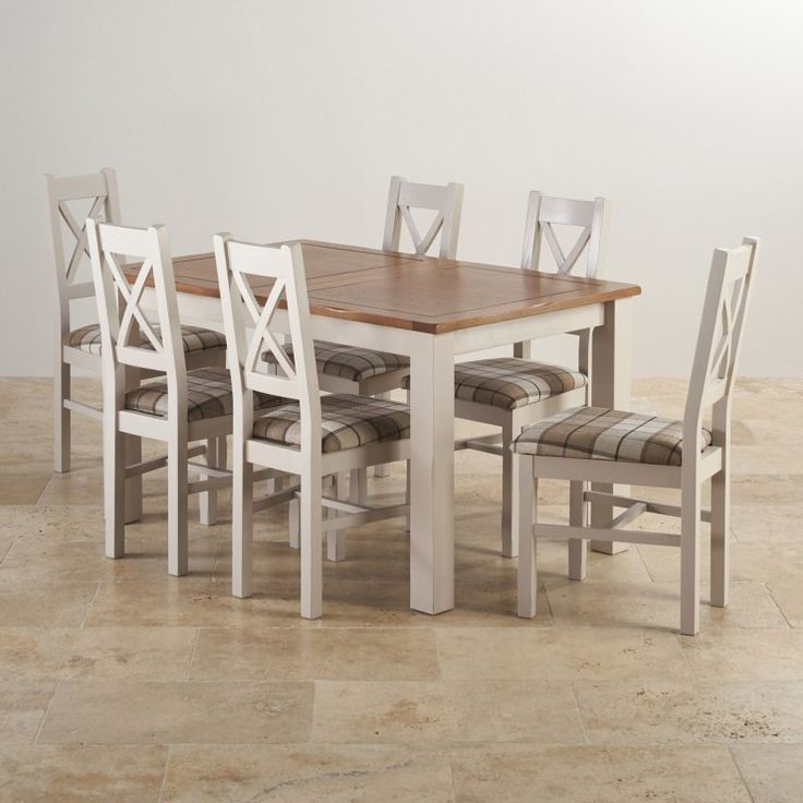 "Kemble Rustic Solid Oak and Painted 4ft 7"" x 3ft Extending Dining Table with 6 Kemble Chairs"