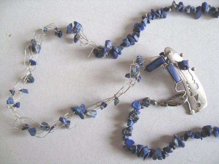 Zilveren collier Lapis Lazuli steentjes,unieke statement ketting  van madebymirjam op DaWanda.com