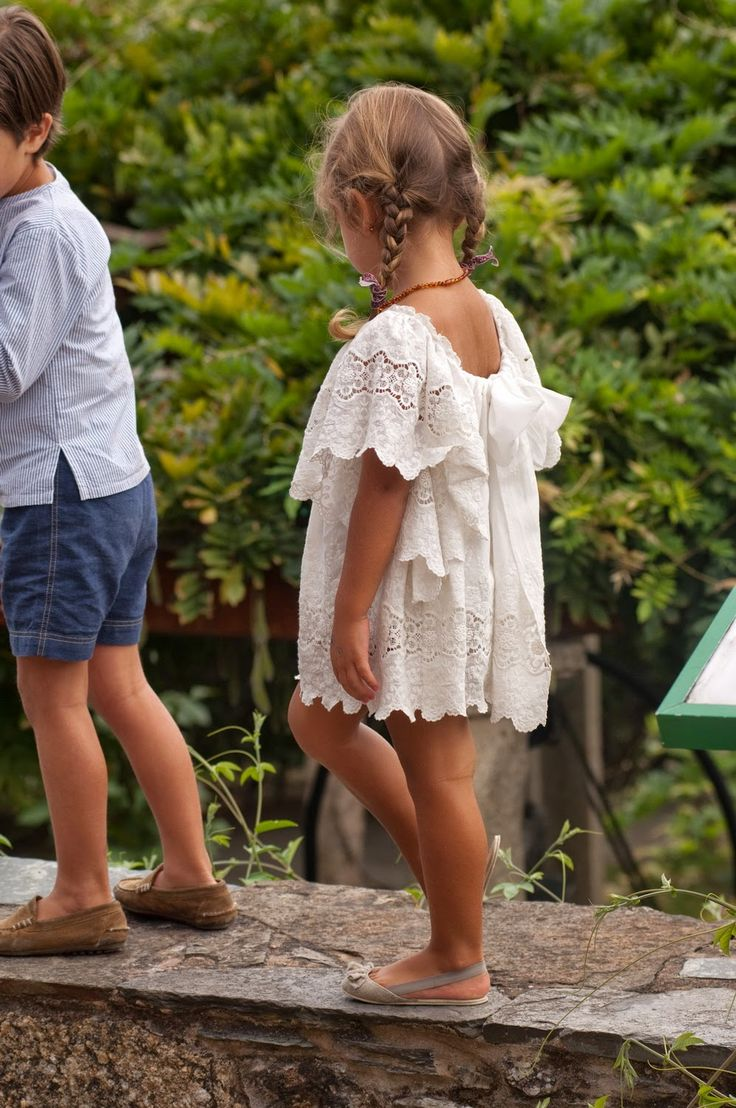 sweet white lace dress for a little girl