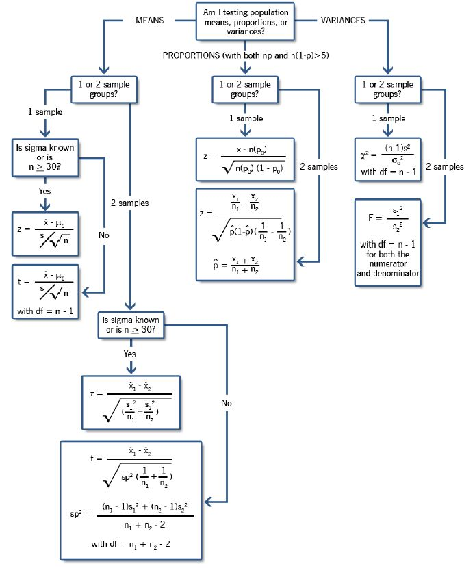 Hypothesis Testing Decision Tree
