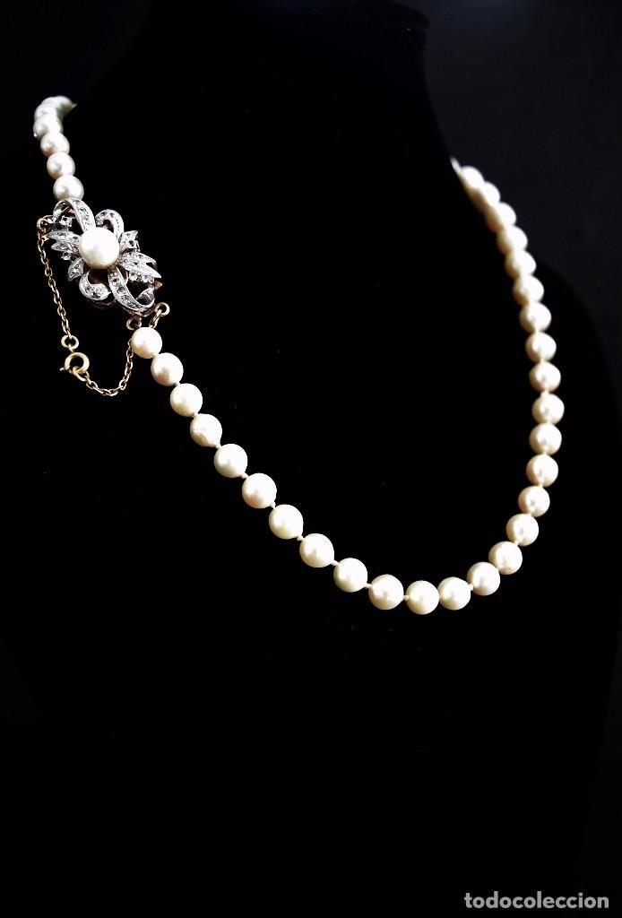 LIQUIDACION, Collar largo de Perlas de 6,0-9,5mm, cierre de Oro 18K con zafiros blancos - Foto 1
