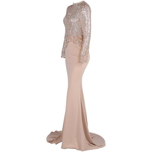 Honey couture margot nude mesh gold sequin formal gown dress ($170) ❤ liked on Polyvore featuring dresses, white dresses, long sleeve dress, white long-sleeve dresses, sexy formal dress and gold formal dresses